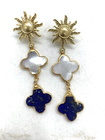 Stacked Lapis and Mother of Pearl Quatrefoil Earrings