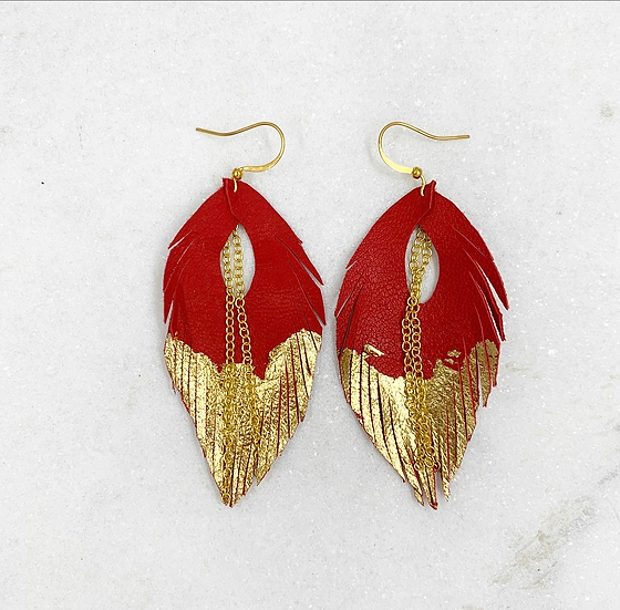 Red and Gold Leaf Leather Earrings