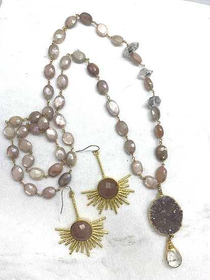 Pink Moonstone and Druzy Necklace