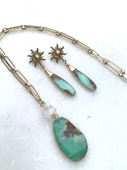 Chrysoprase green and Crystal necklace