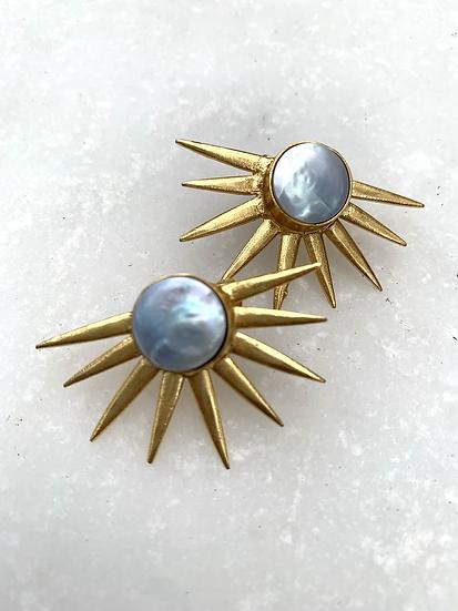 Gold Pearl Sunburst Stud Earrings