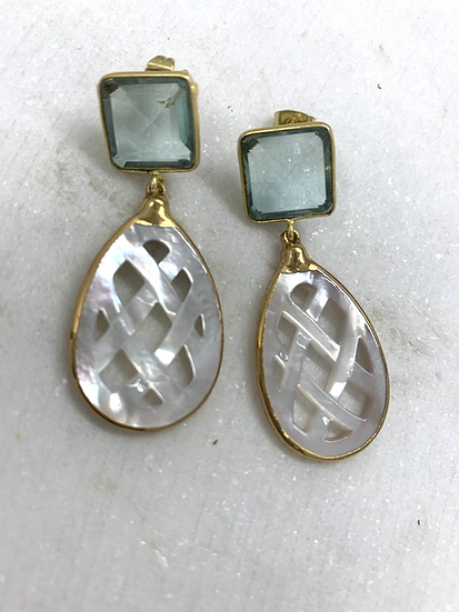 Aquamarine and Mother of Pearl Earrings