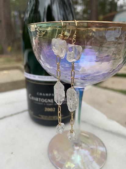 Stacked Herkimer Diamond Earrings