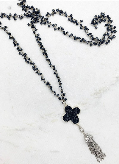 Black Spinel and Sterling Druzy Necklace