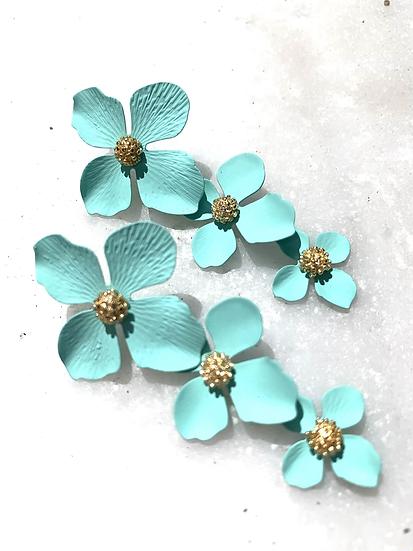 Aqua stacked flower earrings