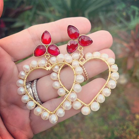 Red Siam and Pearl and Labradorite Earrings