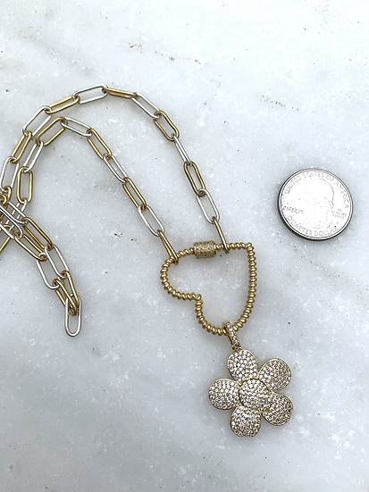 Pave' heart and flower on Paperclip Chain Necklace