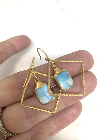 Boxed Larimar Earrings