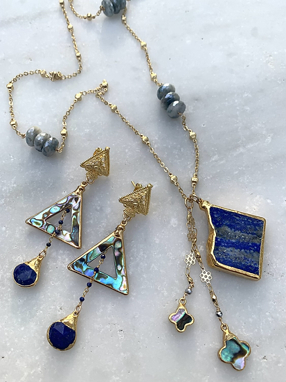 Lapis and abalone earring and necklace