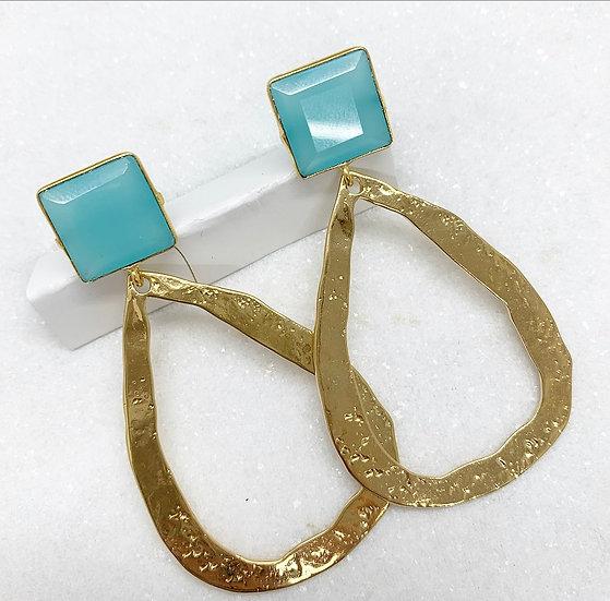 Chalcedony Blue Hammered Hoop Earrings