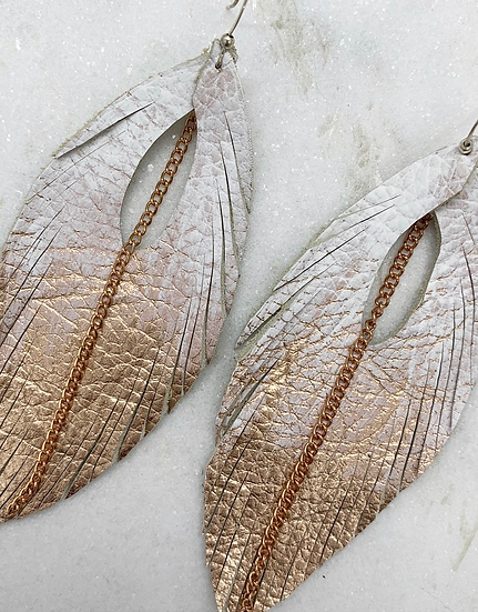 White and Rose Gold Leather Earrings