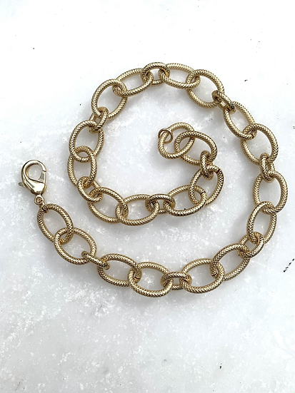 Etched Chunky Large Gold Necklace