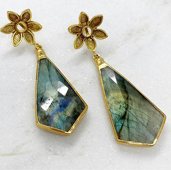 Labradorites and Flower Earrings