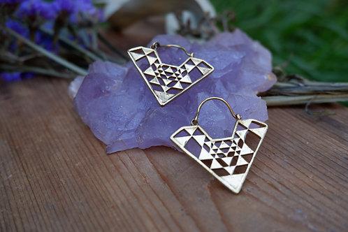 Sri Yantra Earrings - brass