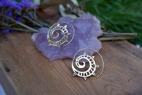 Spiral III brass earrings