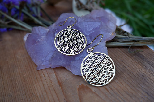 Flower of Life - brass earrings