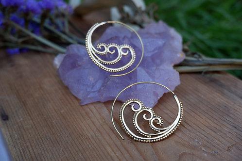 Spiral Waves - brass earrings