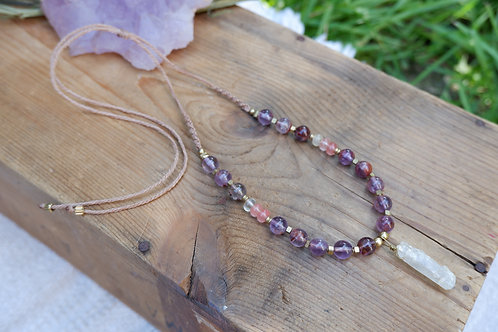 Awakener: Amethyst Cacoxenite, Quartz and Pink Tourmaline necklace