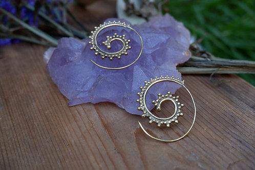 Spiral I - brass earrings