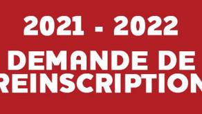 Permanences réinscription 2021/2022