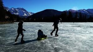 patinage sur le lac