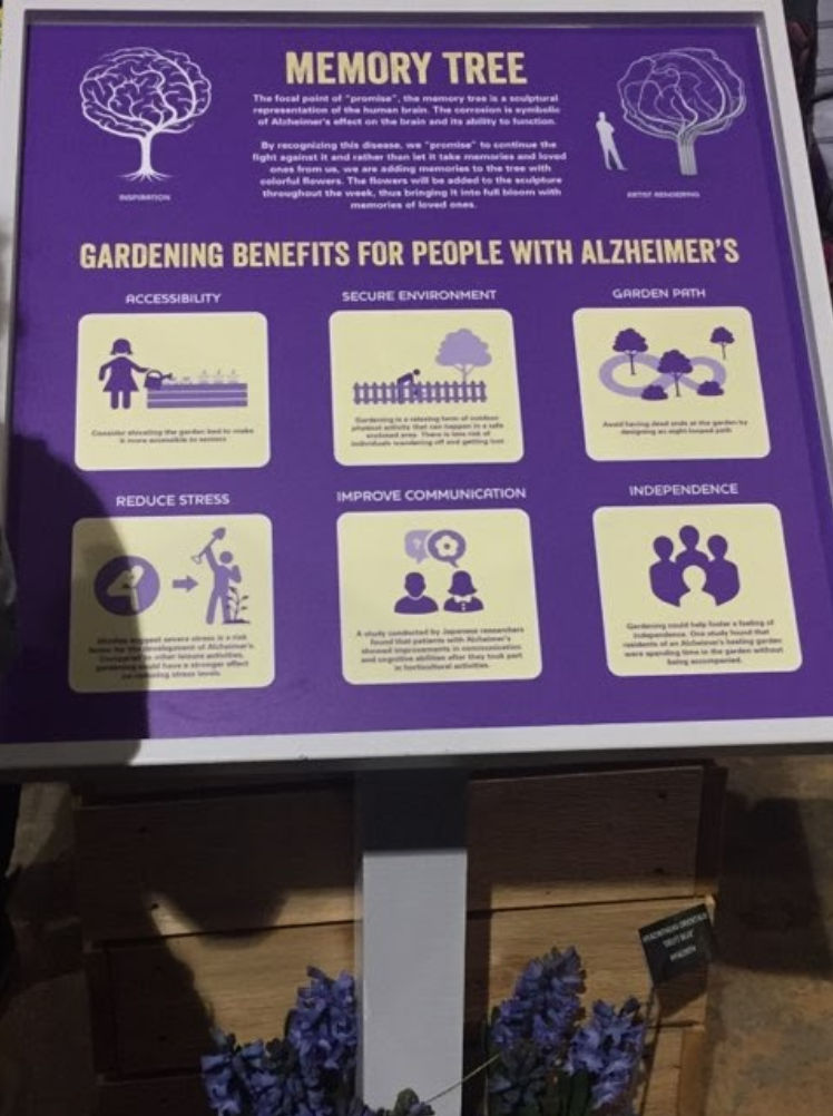 """Sign at the Philadelphia Flower show titled """"Memory Tree: Gardening for People with Alzheimer's"""". The sign is purple with white text."""