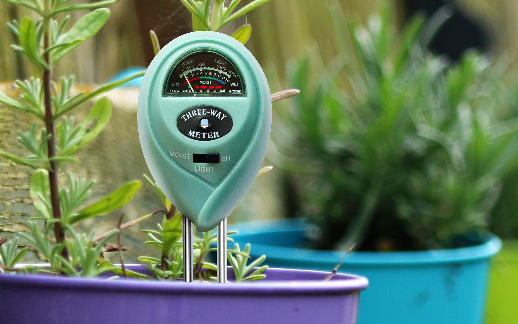 Soil meter in a pot
