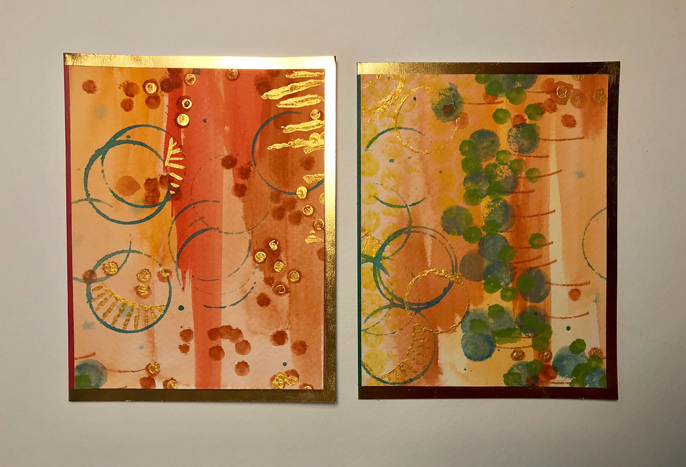 Two handmade cards using hand-painted paper.