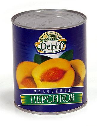 "Половинки персиков в сиропе ""Delphi"", 822 гр."