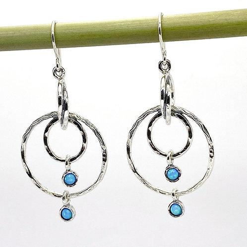 Multi Circle Hoop Earrings with Opalite