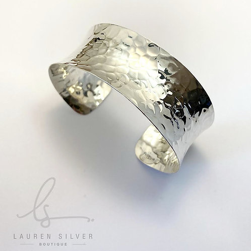 Hammered Concave Bangle Cuff