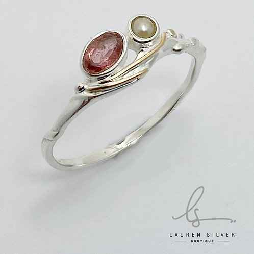Pink Tourmaline And Pearl Ring