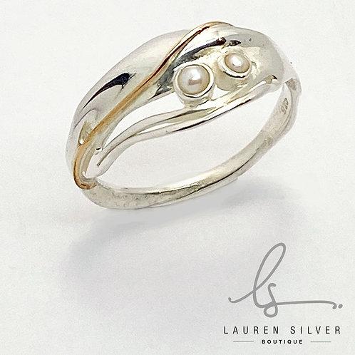 Slim Pearl set Organic Ring
