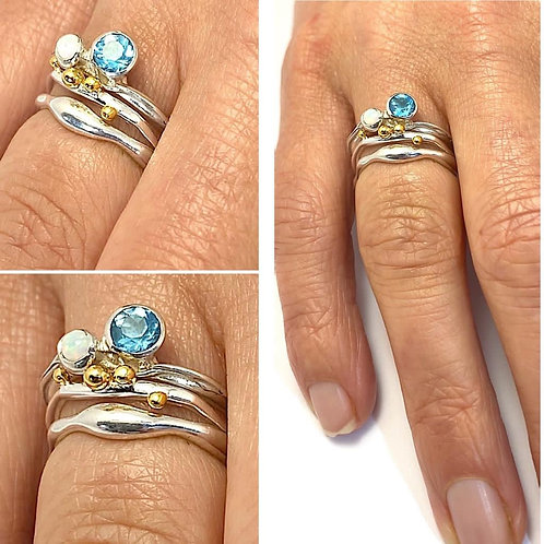Blue Topaz and Opalite Stacker Ring Set