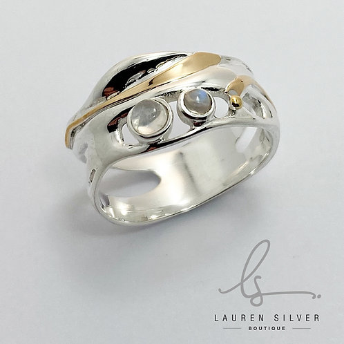 silver moonstone two tone Ring