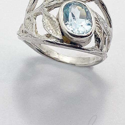 Blue Topaz and Leaf Ring