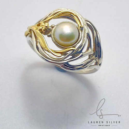 Art Nouveau gold and silver ring