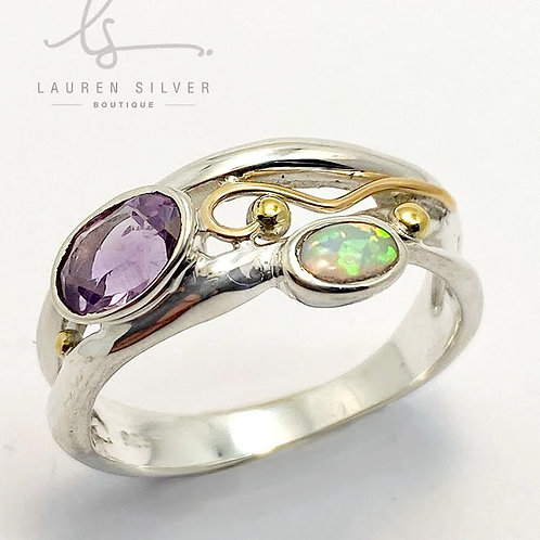 Slim organic  ring set  with Amethyst and Opalite