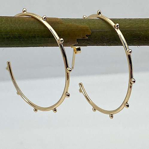 Studded Gold Plate Hoops