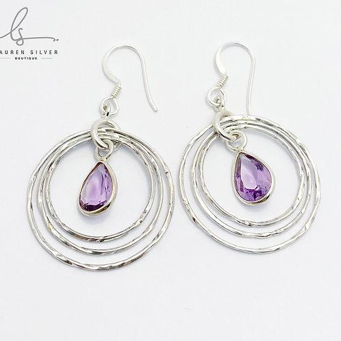 Amethyst pear drop set earrings