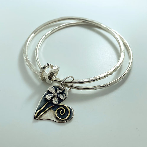 Double Bangle with large heart charm