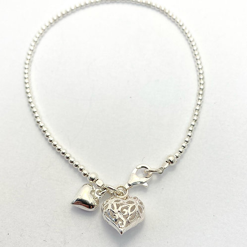 Silver Beaded Bracelet with Heart charms