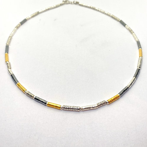 3 Colour Silver Beaded Necklace