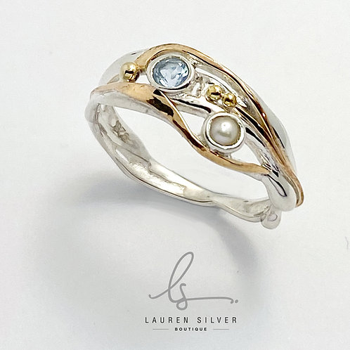 Blue Topaz & Pearl Ring