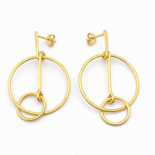 Gold Linked  Hoop Earring