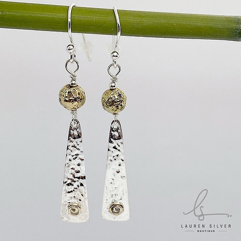 Ball and triangle drop earrings