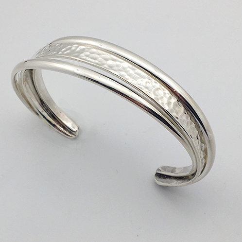 Classic Bangle , Hammered with plain