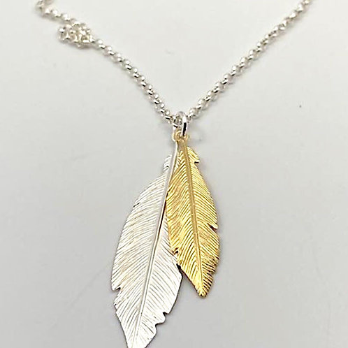 Two Tone Feather Necklace