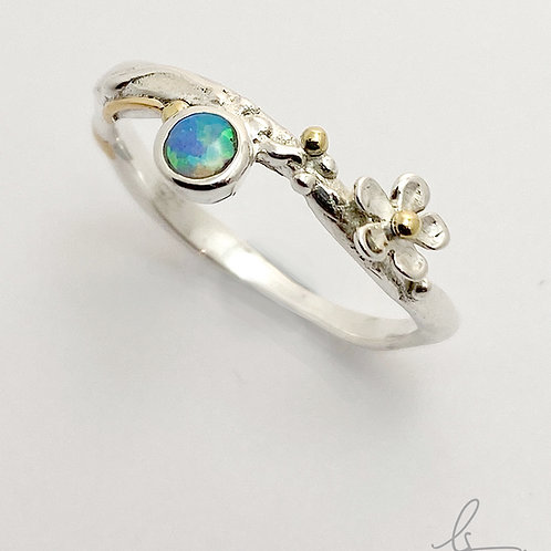 Flower & Opalite  Stacker Ring