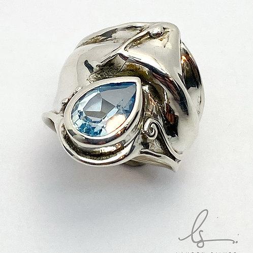 Blue Topaz Sculptural Ring